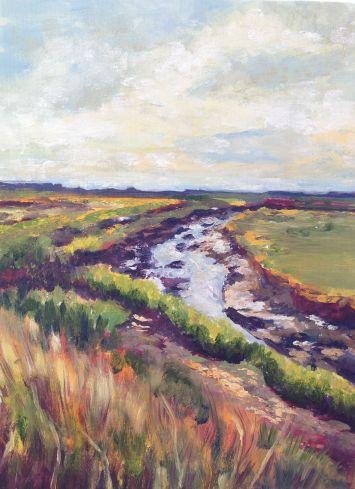"""""""Salt marsh path, Late afternoon sun, Brancaster."""" Oil on canvas 24cm x 18cm"""