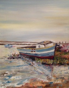 """Beached, Tidal flow in the autumn rain, Brancaster Staithe"" Oil on board 30cm x 24cm"