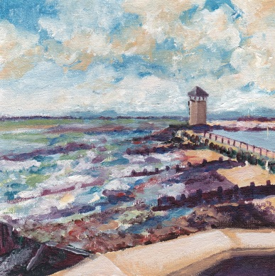 """Blustery Batemans Tower, late summer, Brightlingsea."" Oil on board 15cm x 15cm SOLD"