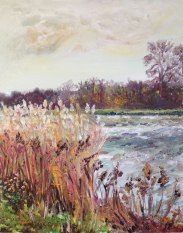 """""""Down by the blustery bank, St Margarets."""" Oil on board 24cm x 30cm"""