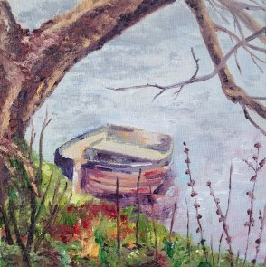 """Boat under bough, towards Richmond Bridge."" Oil on Board 15cm x 15cm"