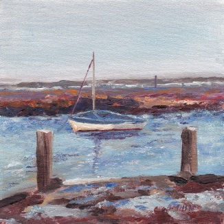 """Bobbing blue boat, towards Scolt Head, high tide and raining, Burnham Overy."" Oil on board 15cm x 15cm"