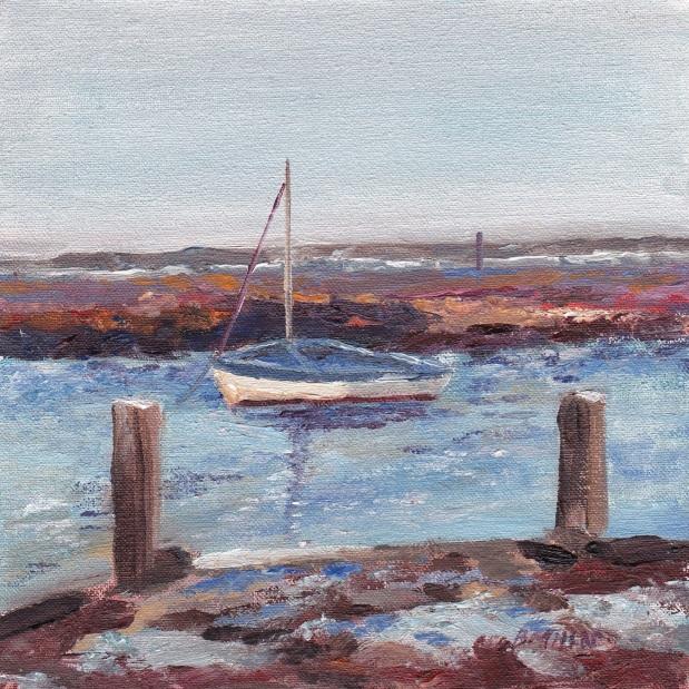 """Bobbing blue boat, towards Scolt Head, high tide and raining, Burnham Overy."" Oil on board 15cm x 15cm"