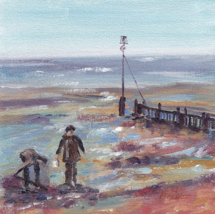"""""""Collecting cockles, Autumn afternoon, Hunstanton."""" Oil on board 15cm x 15cm SOLD"""