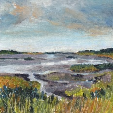 """""""A grey day across Titchwell salt marshes, late summer"""" Oil on board 15cm x 15cm"""