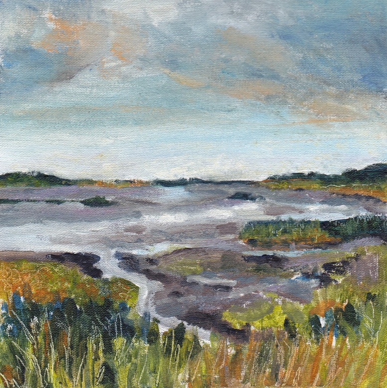 """A grey day across Titchwell salt marshes, late summer"" Oil on board 15cm x 15cm"