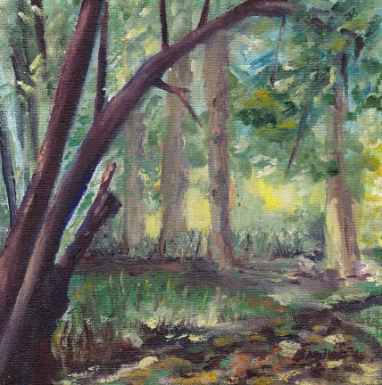 """""""If you go down to the woods today."""" Oil on board 15cm x 15cm"""