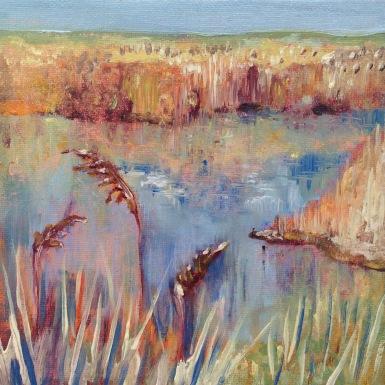 """Golden Grasses"" Oil on imitation gold leaf, 15cm x 15cm"