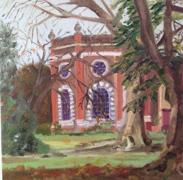 """Crisp Cold Winter Morning, Orleans House Gallery"", Oil on board, 20cm x 20cm"