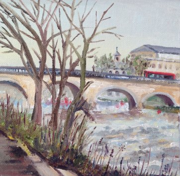 """Red Bus on Richmond Bridge"", Oil on board 15cm x15cm"