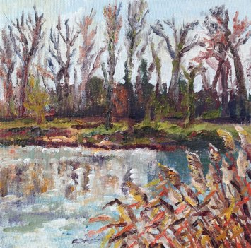"""Reflecting Winter, Twickenham"" Oil on board 15cm x 15cm"