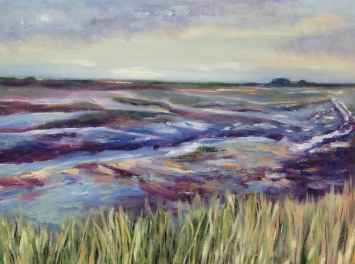 """""""Beyond the sea grass, ebbing tide, Titchwell salt marshes."""" Oil on canvas 18cm x 24cm"""