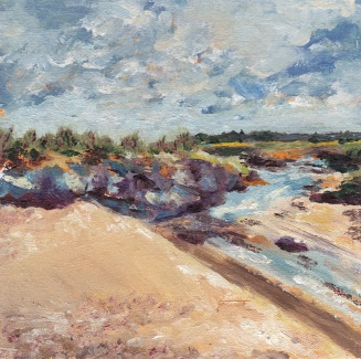 """Over the dunes to Seal Island, sunshine towards Titchwell."" Oil on board 15cm x15cm"
