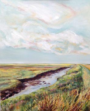 """Brancaster beach and beyond."" Oil on canvas 40cm x 50cm"