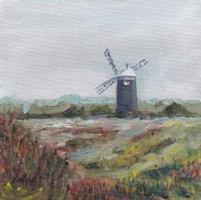 """Where the grey wind blows, Burnham."" Oil on board 15cm x 15cm SOLD"
