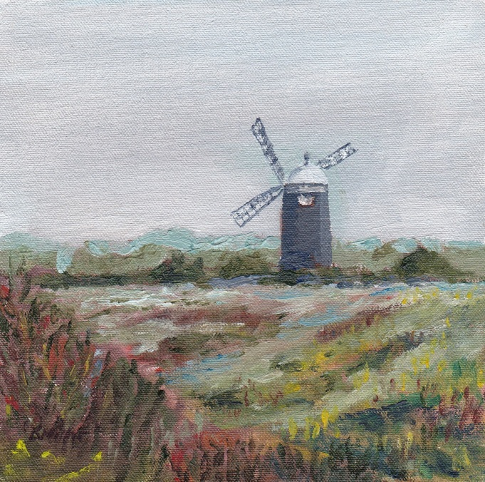 """Where the grey wind blows, Burnham."" Oil on board 15cm x 15cm SOLD"