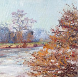 """Where the winter trees glow, towards Twickenham."" Oil on board 15cm x 15cm"