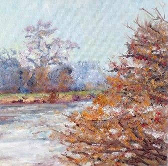 """Where the winter trees glow, towards Twickenham."" Oil on board 15cm x 15cm"