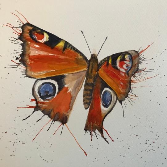 Fluttering Peacock Butterfly
